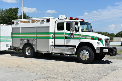 """Sterling Rescue's Station 25 houses """"Tech 625"""", a 2004 Freightliner 70 built by American LaFrance.  It is equipped with three seats in the cab and a light tower."""