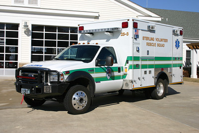 """Another new delivery photograph, just after being placed into service.  This 2006 Ford F550 4x4 was completed in 2007 by Medic Master.  The Sterling Rescue fleet of ambulances/medic units are all """"monster medics"""", except 25-3.    This unit was replaced with the arrival of the new Ford."""
