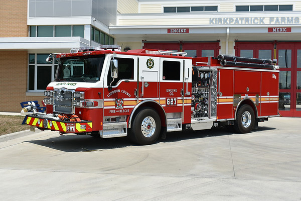 Loudoun County, VA - Kirkpatrick Farms Station 27 - Engine 627 is a 2019 Pierce Velocity with a 1500/750/40 and Pierce job number 33084-02.    This is one of three ordered by Loudoun County.  The other two are assigned to Engine 603 in Middleburg and Engine 619 in South Riding.