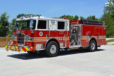 One of two 2013 Pierce Arrow XT's delivered to Loudoun County (the other was assigned to Engine 610 in Lucketts).  This Pierce was displayed at the annual Virginia Fire Chief's convention in Virginia Beach in May of 2014.  Except at that time, it was marked as Engine 687 and plans were to have this as a reserve engine for the county.  Those plans changed and the Pierce was re-marked to Engine 603 and assigned to Middleburg.  It is equipped with a 1500/750/30 and photographed in the parking lot of Station 3 in Middleburg in June of 2014.