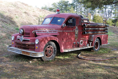 The drivers side of Middleburg's 1954 Seagrave now at Ticonderoga Farms.