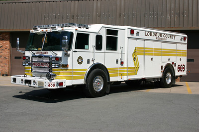 Old Rescue 603 was a 2007 Pierce Dash.  Rescue company services discontinued in Middleburg in 2009 and this squad was moved to run as Rescue 607 in Aldie, where it was re-striped to red.  With the arrival of the new Rescue 607, this unit became Rescue 680, the County reserve.