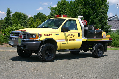 Brush 603 went through some drastic changes when rebuilt in 2009.  Originally equipped with a Royal Sport/Singer 150/225 brush body (pick up style), it proved to be quite heavy.  In 2009, Keplinger Repair rehabed the brush truck.  The official stats are a 2000 Ford F350/2009 Keplinger  150/150/5 with a flat bed.  Sold in May of 2015 when the volunteer program in Middleburg dissolved.