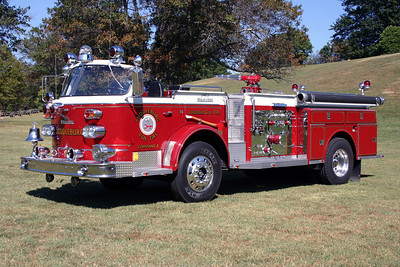 "Quite a history on this American LaFrance, once run by Middleburg.  It was originally ordered by Annandale, Virginia (Fairfax County) in 1963 and purchased by Middleburg in the late 1970's/early 1980's.  From Middleburg, it was sold to the Rouss Fire Company in Winchester where it was painted in their traditional green and white and ran as ""Squad 2"".  From Rouss, it was sold to Clover Hill, Virginia and kept its green and white paint.    It was purchased by a private individual who had the truck extensively rehabed, repainted and re-lettered to Middleburg.  Photographed at the 2010 Old Dominion Historical Fire Society Waynesboro, VA meeting and muster."