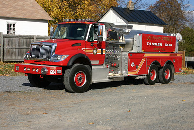Tanker 604 is one of three similar tankers in the county, it is a 2006 International/2007 4-Guys  1500/3000.  Now in reserve status.