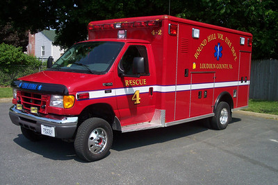 Ambulance 4-2 from Round Hill was this 2004 Ford E350 4x4 built by Wheeled Coach.  Sold in approximately 2015.