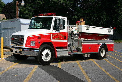 """Reserve Tanker 604 at Round Hill was this 1996 Freightliner 70/Superior  1000/1800.  The tank has a """"T"""" shape and lower profile.  In December of 2011, it was sold to Carter City, Kentucky."""