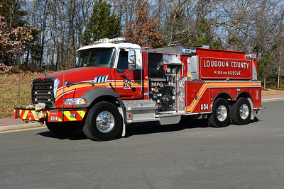 One of two 2016 Mack Granite/Pierce 1500/3000 tanker delivered to Loudoun County in November of 2016.  This is Tanker 604 for Round Hill.  It carries Pierce job number 29709-01.  The other tanker was delivered to Tanker 610 in Lucketts.