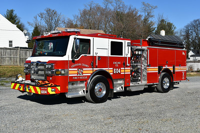 Loudoun County, Virginia Engine 604, a 2017 Pierce Velocity with a 1500/750/50 and job number 30930-01.  This is one of three delivered, the others being assigned to Engine 605 and Engine 627 (might be re-assigned).