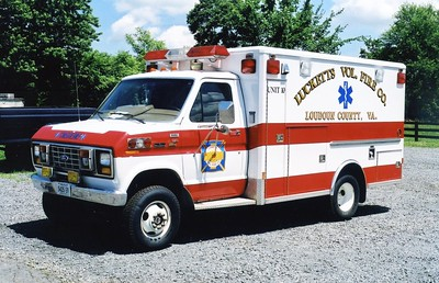 Former Unit 10, a 1988 Ford E-350/Wheeled Coach.  A non transport unit, former Round Hill (Loudoun County), Company 4.