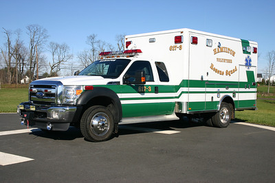 """617 (former A617-3) at Hamilton Rescue is a 2011 Ford F450 4x4 built by Horton.  All three ambulances at Hamilton VRS have Horton boxes.    This 2011 Ford F450 has the """"half doors"""", which allow for additional storage of equipment."""