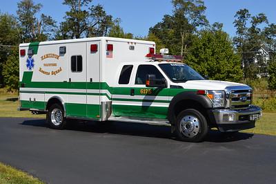 Hamilton, VA 617-B, a 2015 Ford F450 4x4 with a 2006 Horton ambulance body.  Horton did the remount of Hamilton's 2006 box.