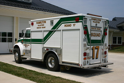 The back side of Squad 17.  The 1994 International 4900/Marion was photographed at the rear of the Purcellville Volunteer Rescue Squad - Station 14.