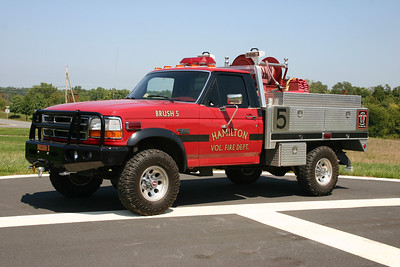 Brush 605 had the black paint added in 2007 when the brush truck was rehabed which included a new flat bed.  It is a 1994 Ford F350/LSI equipped with a 250/250.