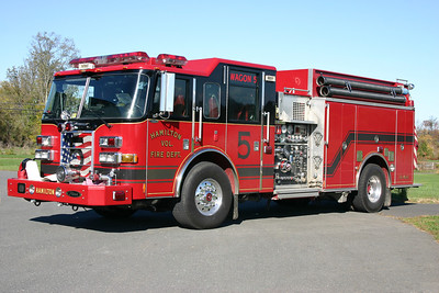 Former Wagon 605 (now Engine 605B) is a 2006 Pierce Dash  1500/1000/40 and was Hamilton's first apparatus painted in their new color of red and black.  Code 3 collectibles, a detailed builder of fire apparatus models, had Wagon 605 created as part of their exclusive model line up.  Sold to Richardsville, Virginia (Culpeper County) in 2017.