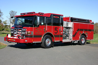Engine 605B at Hamilton is a 2010 Pierce Velocity  1500/1000/40/40.  The Pierce was photographed to the rear of the station at the entrance to the helipad.