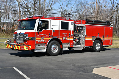 One of three 2017 Pierce Velocity's built for Loudoun County.  Engine 605 received one of the new one's and it is equipped with a 1500/750/50 and has Pierce job number 30930-02.  Engine 604 and Engine 623 received the other two.
