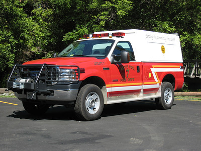 Aldie's Utility 607 was this 2005 Ford F350 4x4 pick up truck with an unusual Knapheide cap.  In 2015, the utility body was removed and a brush skid package was added.  Work was completed by Keplinger Repair of Winchester, VA.