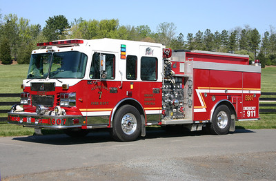 Engine 607 from Aldie is this 2007 Smeal Sirius 1500/750/20. It replaced a 1996 Pierce Dash engine which was sold to Sterling, Virginia and today runs as Wagon 611.  Engine 607 was photographed at a golf course in Aldie's first due in April of 2012.  Sold to Haysi, Virginia (Dickenson County) in 2017.