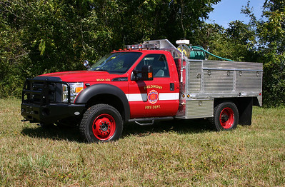 Philomont's new Brush 608 was photographed shortly after entering service in September of 2012.  FastLane, known for their command units and located in nearby Purcellville, built Brush 608.  Brush 608 is a 2012 Ford F450 4x4 equipped with a 350 gpm pump, 250 gallons of water, and a 15 gallon foam cell.