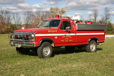 An usual brush truck built by 4-Guys, who specializes in larger apparatus like tankers and engines.  Brush 608 in Philomont is a 1983 Ford F250 equipped with a 250/250.  It was replaced in 2012 with a new Ford F450 brush truck.