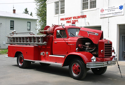 Philomont's first fire truck was this 1956 International/FWD 750/600.  It has an interesting history.  It was purchased by a local Philomont citizen.  He gave the community an incentive that if they built a fire department in Philomont, he would purchase the truck.  The station was built and the FWD was purchased.  The FWD is now privately owned.