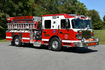 An officer side view of Philomont's Engine 608, a 2017 Smeal Sirius.