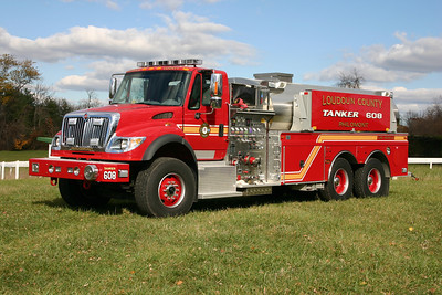 A county purchased tanker is also stationed at Philomont and is Tanker 608.  It is a 2006 International 7600 completed by 4-Guys in 2007.  Equipped with a 1500/3000, it is one of three similar tankers purchased by the county in 2006.