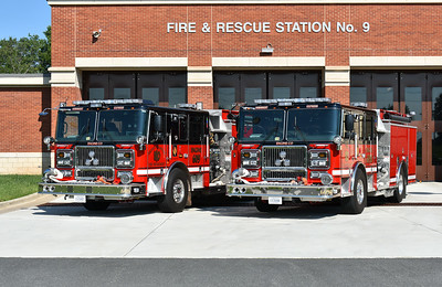 Arcola's twin 2016 Seagrave engines as photographed in August of 2017.