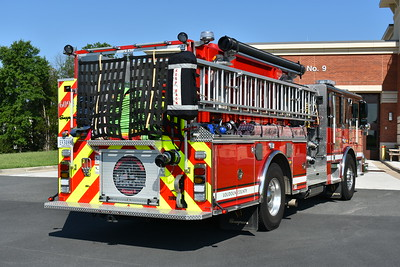 A back end view of Engine 609-B from Arcola, Virginia - a 2016 Seagrave.