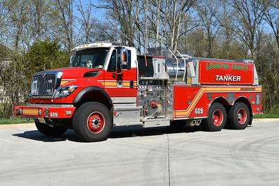 Loudoun County, Virginia Tanker 609 at the Arcola station is this 2009 International 7600/Pierce with a 1500/3000 and Pierce job number 22361-01.  It was originally delivered as Tanker 623 in Ashburn (Moorefield Station) and transferred to Station 9 in October of 2017.