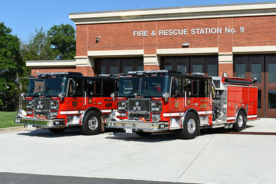 Photographed in August of 2017 is Arcola's twin 2016 Seagrave engines - Engine 609 and Engine 609B.