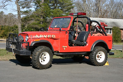 Jeep 609 located at the Arcola Station 9.  It is a 1976 Jeep/Fire Control Equipment and has a 100/65.  When this was photographed in April of 2013, space is at a minimum and the Jeep is kept outside until the new fire station in Brambleton is ready.