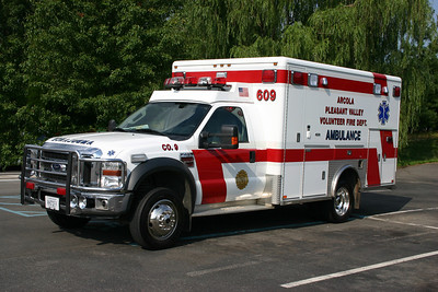 Arcola volunteers have purchased a variety of ambulances/medic units built on Ford F chassis.  Ambulance 609-C is a 2005 F450 4x4 model built by Horton.