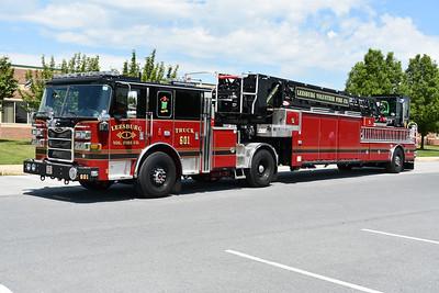 Another angle of Truck 601, a 2019 Pierce Arrow XT, 107' tiller.  T601 carries Pierce sn-32449.