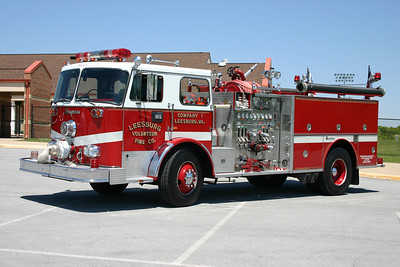 Now privately owned -former Engine 1 is a 1973 Seagrave PB24056 with a 1250/750.  Rehabbed by Seagrave in 1988, which included additional compartments.  Removed from service in 2009 and sold to a Leesburg VFC member.  This photograph was taken at the 2010 Apple Blossom firefighters parade in Winchester, Virginia.