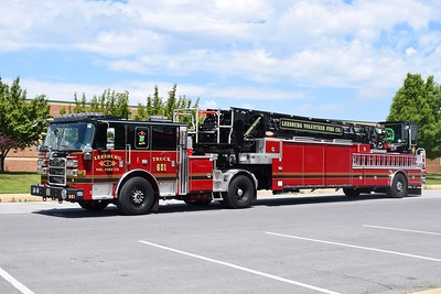 Photographed prior to entering service is Leesburg, Virginia, is Truck 601, a beautiful 2019 Pierce Arrow XT, 107' tiller.  T601 carries Pierce sn-32449.