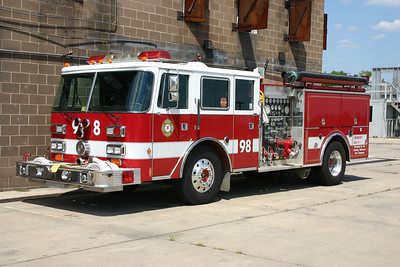 Sterling Fire's second donation to the Training Center became Engine 98.  It is a 1985 Pierce Arrow that was rehabbed by Pierce in 1989 to include a four door cab.  It is equipped with a 1500/750.  This engine is now privately owned in the Winchester, Virginia area and has been used as a loaner engine to several departments.
