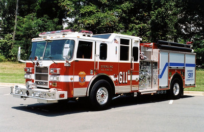 "Former Engine 611 is a 2004 Pierce Lance 1500/750.  One of the first engines in Loudoun County to be delivered and marked in the COG (Council of Government) numbering system of ""611"".  ""6"" represents the unit as a Loudoun County unit and ""11"" shows it is from Sterling Fire Station 11.  This Pierce engine was also delivered with another 2004 Pierce Lance, this one with a larger water tank of 1250 gallons and assigned to Sterling's Fire Station 18."