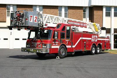 Sterling's old Tower 11 is now a reserve aerial truck in Harrisonburg, Virginia.  It is a large 1991 Simon-Duplex/LTI 100' tower.  It was sold to Harrisonburg in 2006.  Note how the ladder beds on the cab between the raised roof areas.