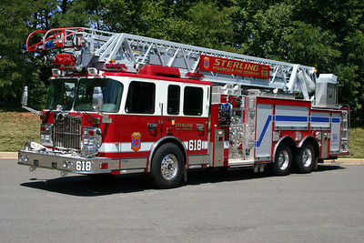 "Sterling has operated three ""Quints"" during its history.  A quint is a combination ladder truck and engine company and offers a department flexibility in how the truck operates.  Quint 618 in Sterling is a 2008 Spartan Gladiator/Smeal 105' rearmount and is also equipped with a 2000/500.  It replaced a 2000 Spartan/Smeal 75' rearmount with a 1500/500.    Sterling's Quint 618 also is a back up ladder truck when Tower 611 is out of service."