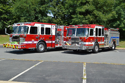 Sterling's Engine Companies from Station 18 - Engine 618 on the left (2016 Spartan Gladiator/Smeal) and Engine 618B on the right (2009 KME).  Photographed in August of 2016.