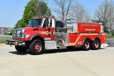 Sterling, Virginia in Loudoun County has several homes in its first due located near the Potomac River, in a non-hydranted area.  As a result, a tanker is assigned to Fire Station 18.  Tanker 618 is this 2006 International 7600/2017 4-Guys with a 1500/3000 and Pierce job number F2499.  This tanker was originally assigned to Lucketts, Virginia Fire Station 10 in Loudoun, and later re-assigned to Sterling in December of 2016.