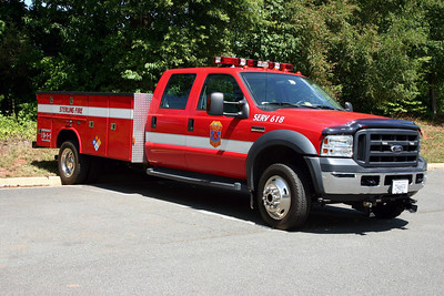 Station 18 has a variety of different trailers.  SERV 618 (Special Emergency Response Vehicle) is a 2005 Ford F550/Reading and is often used to pull the trailers .