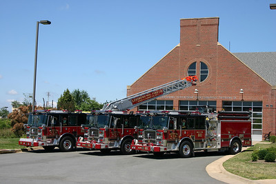 Wagon 601, Engine 601, and Truck 601 (all 2007 Seagrave's) photographed in front of Fire Station 20 in Leesburg.  This photo session was created for an article that appeared in the Virginia Fire & EMS magazine.  The group photo appeared on the front cover.