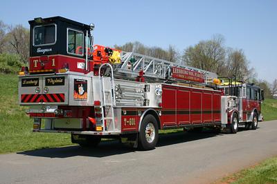 Truck 601, a 2007 Seagrave Marauder II 100' tiller.