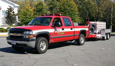Utility 601, a 2002 Chevrolet 2500 pick up, pulling Foam 1, a 2004 National Foam Kidde equipped with two 275 gallon foam tanks.  The foam trailer was disposed of several years ago with the delivery of Tanker 601.
