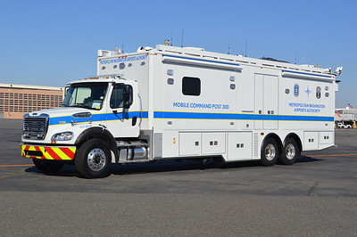 MWAA's Mobile Command Post 300 is this huge 2012 Freightliner M112/Frontline Communications equipped with 5 slide-out modules.  This unit is stored at Reagan Airport but runs at both airports as needed.