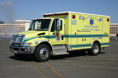 Marked as Medic 301, this is now Medic 301B.  It is a 2007 International 4300/Horton.