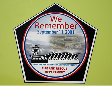 A tribute to 9/11 found on many of the Dulles apparatus.